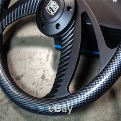 14 Black Steering Wheel Billet 6-Hole with Carbon Fiber Wrap