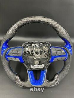 2014-2019 Dodge Durango / Charger Challenger Carbon fiber Steering Wheel Blue