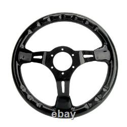 350mm 14'' Carbon Fiber Racing Steering Wheel Gloss Rectangular Hole 6 Bolts
