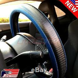3D Blue Black Carbon Fiber Style Leather Steering Wheel Cover Protector Slip-On
