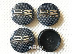 4x OZ Center Caps Wheel Centre Hub Alloy Cap Set Black/Silver Carbon Fiber 56mm