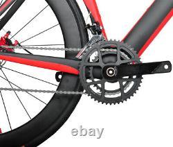 54cm Disc brake Carbon Bicycle AERO Road Bike Red 700C Frame Wheels Clincher 11s