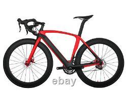 56cm Disc brake Carbon Bicycle AERO Road Bike Red 700C Frame Wheels Clincher 11s