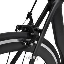 58cm AERO Carbon Frame Road Bike 700C Alloy Wheel Clincher Fork seatpost V brake