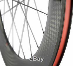 700C Fixed Gear Track Wheels 70mm Tri Spoke Front Wheel 88mm Rear Carbon Wheels