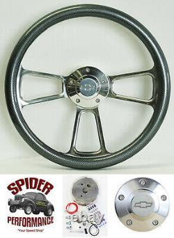 88-94 Suburban Blazer Chevy pickup steering wheel BOWTIE 14 CARBON FIBER BILLET