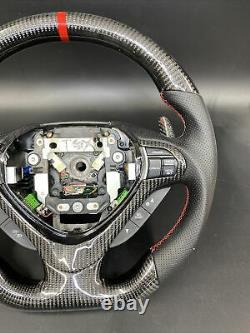 Acura TSX 2009-14 Carbon fiber steering wheel Black leather Red Stitching