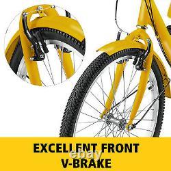 Adult Tricycle 20'' 1-Speed 3 Wheel Yellow Trike Bike Shopping With Lock Bike