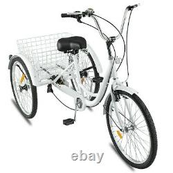 Adult Tricycle 24'' 7-Speed 3 Wheel White Trike Shopping Bike Riding With Basket