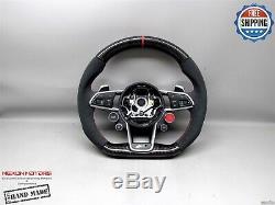 Audi R8 V10 4S TT TTR TT RS 8S 5mm Red Small Alcantara Carbon Steering Wheel V1