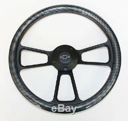 Blazer C10 C20 C30 S10 Chevy Truck Steering Wheel Carbon Fiber Black 14 Bowtie