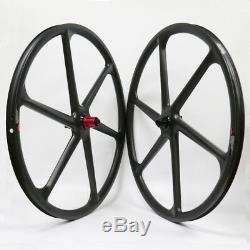 Carbon Fiber 6 Spokes Mountain Bike Wheels 29er 30mm Width 3K Matte MTB Wheelset