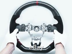 Carbon Fiber Alcantara WithRed Stripe Flat Steering Wheel for 15-20 SUBARU WRX STI