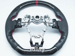 Carbon Fiber D-Shape Leather Steering Wheel Red Stripe for 15-20 SUBARU WRX STI