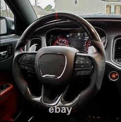 Carbon Fiber Flat Preforated Steering Wheel for Dodge Charger Challenger SRT GT