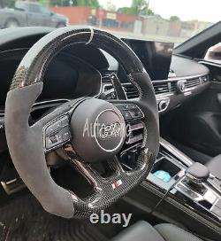 Carbon Fiber Flat Steering Wheel for Audi S4 S5 S6 S7 RS3 RS4 RS5 RS6 RS7 B9 18+