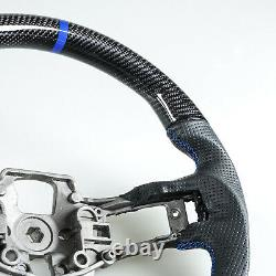 Carbon Fiber Leather Blue Steering Wheel For Ford Mustang EcoBoost 5.0GT 15-17