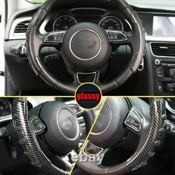 Carbon Fiber Non-Slip Steering Wheel Booster Cover For Audi A3 A4 A5 A6 A7 Q5 Q7