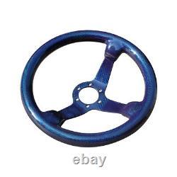 Carbon Fiber Racing Car Drift Steering Wheel 350mm 14Inch 6 Holes Bolts Blue
