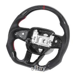Carbon Fiber Steering Wheel Nappa Preforated Leather Red Stitching Fit for Dodge