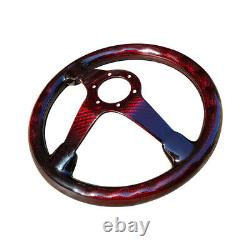 Carbon Fiber Steering Wheel Racing Drift Car Gloss 6 Holes 14 350mm Red US