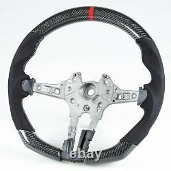 Carbon Fiber Suede Flat Bottom Steering Wheel For BMW F80 M3 & F82 M4