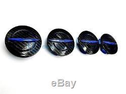 Chrysler 200 300 Blue Black Carbon Fiber Wheel Center Cap x4 Set 11-18 OEM Mopar