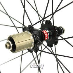 ELITE 700C Clincher Carbon Fiber Wheels Road Bike Wheelset Tubeless Novatec Hub