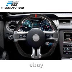 Fits 10-14 Ford Mustang CF + Leather Steering Wheel With Red Stitching & Indicator