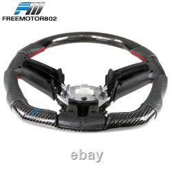 Fits 10-14 Ford Mustang CF + Perforated Leather Steering Wheel With Red Stitching