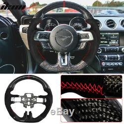 Fits 15-17 Mustang V3 Style Steering Wheel Carbon Fiber with Alcantara Red Ring