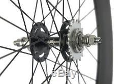 Fixed Gear Carbon Wheelset Front 70 Tri Spoke Rear 88mm Track Wheel Clincher Hot