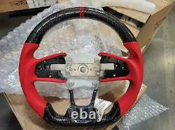 For 16-21 Honda Civic 10th Real Carbon Fiber Steering Wheel RED 1 Edition Matte