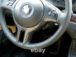 For BMW E46 E39 E53 X5 3 5 Series Carbon Fiber CF Steering Wheel Trim Cover