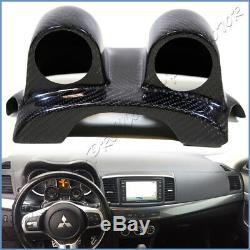 For EVO X Mitsubishi Lancer 2008-13 Steering Wheel Dual Gauges Pod Carbon Fiber