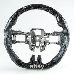 Forged Carbon Fiber Perforated Leather Steering Wheel For Ford Mustang 2015-2017
