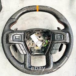 Genuine Ford F150 Raptor Carbon Fiber Steering Wheel Paddle Shifter Blk Leather