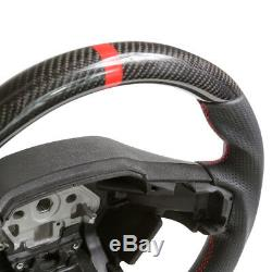 Handkraftd 2015+ Ford F150 Steering Wheel Real Carbon Fiber/Leather/Red Stitch