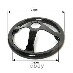 Hiwowsport 350mm Bolts Racing Steering Wheel Real Carbon Fiber Black 6 Holes