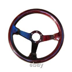 Hiwowsport Carbon Fiber Racing Steering Wheel Real 6 Holes 350mm Bolts Red Color