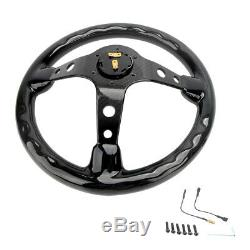 Hiwowsport Carbon Fiber Steering Wheel 320mm Black Button Cover 6 Holes Bolts