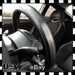 JDM Premium Black 3D Carbon Fiber Leather Steering Wheel Cover Protector Slip-On