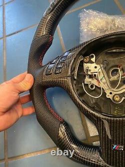 LED Performance Steering Wheel Red Stitching BMW E46 / M3 Carbon Fiber + Trim