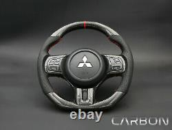 Mitsubishi evo X OEM Flat Bottom Thicker Grip Carbon Fiber Steering Wheel