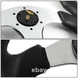 Nrg 350mm Black Leather Carbon Fiber Silver Spokes Steering Wheel Flat Bottom