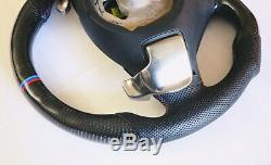 Paddle Shifts BMW E90 E92 E93 M3 Carbon Fiber Perforated Leather steering wheel