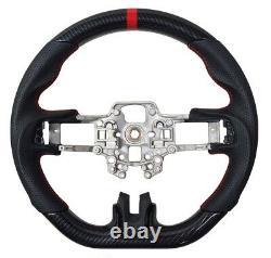 REVESOL Hydro-Dip Carbon Fiber Black Steering Wheel for 2018+ FORD MUSTANG GT