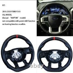 REVESOL REAL Carbon Fiber Black Steering Wheel for 2015-2020 Ford F150 FLAT