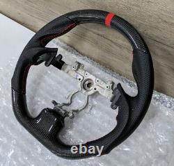 REVESOL Real Carbon Fiber Black FLAT Steering Wheel for 08-15 INFINITI G37 Q60