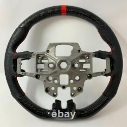 REVESOL Real Carbon Fiber Black Steering Wheel for 2015-2017 FORD MUSTANG GT